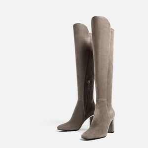Zara Leather Over the Knee Tall Boots High Heel